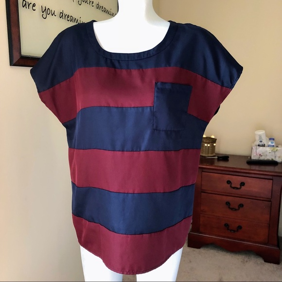 The Limited Tops - Maroon & navy blue The Limited short sleeve blouse